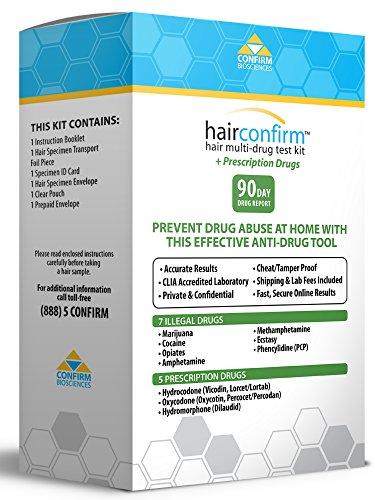 HairConfirm Hair Multi Drug Test Kit, 90 Day History (Prescriptions)