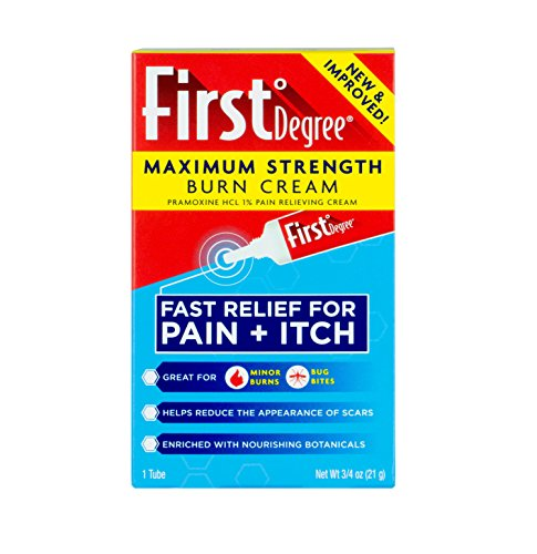 Maximum Strength Burn + Bug Bite Relief Cream by First Degree – First Aid Pain Relief Cream + Itch Relief Cream for Minor Burns, Bug Bites, Minor Scrapes w/ Calendula, Echinacea, Shea Butter, 0.75oz