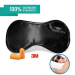 Sleep More Mask (Large-XL) Sleeping Masks for Men or Women. A Quality BLACK Satin Travel Mask and Natural Rest Aid for Sleep Disorders & Insomnia