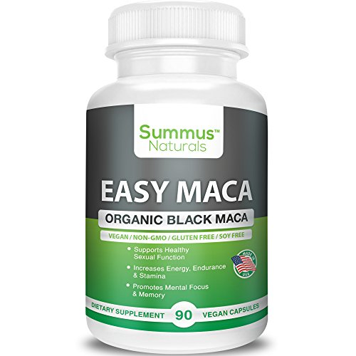 Summus Naturals Organic Black Maca – Boost Sexual Performance & Stamina, Increase Mental Focus, Energy & Memory – 100% All Natural, Vegan, Gluten Free, Soy Free & Made in USA
