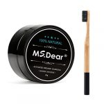 MS.DEAR Teeth Whitening Activated Charcoal Powder + Bamboo Toothbrush Natural & Organic Oral Care Set 1.05 oz