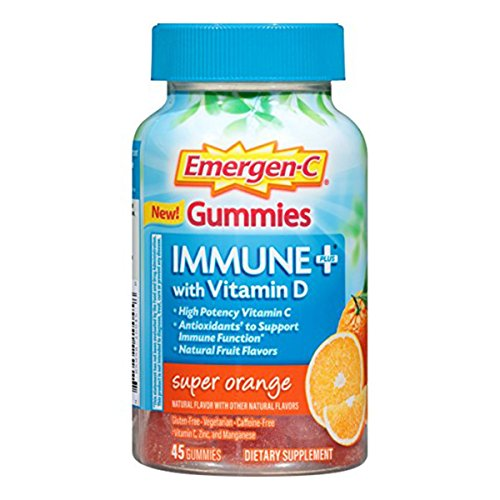 Emergen-C Immune+ Gummies (45 Count, Super Orange Flavor) Immune System Support with 500mg Vitamin C Dietary Supplement, Caffeine Free, Gluten Free