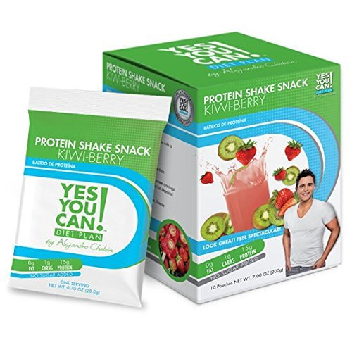 Yes You Can! Diet Plan: Protein Shake Pack Up to 2 Snacks a Day, Helps Lose Weight - Batido de Proteína - Kiwi Berry, 1 Pack (10 Packets)
