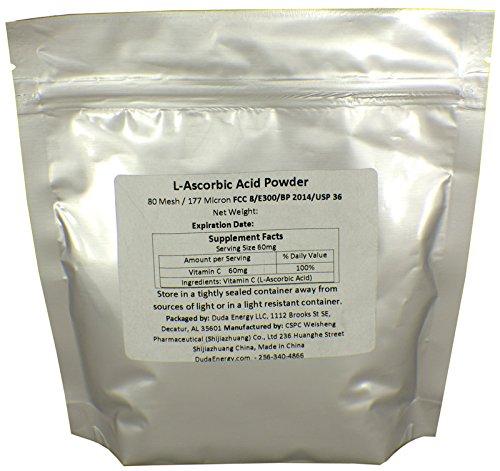 Duda Energy asc1f Bag of L-Ascorbic Acid Powder 99+% Food Grade USP36/BP2012 Naturally Fermented Pure White Crystals Form of Vitamin C, 1 lb.