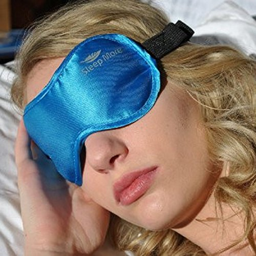 "Sleep More (SMALL-Med Size) Sleeping Mask for Men or Women, with Free ""ONE BAG"". A BLUE Satin Natural Rest Aid for Sleep Disorders & Insomnia"