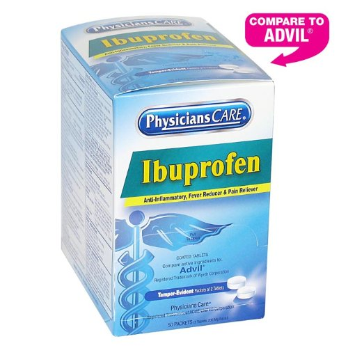 PhysiciansCare Ibuprofen Pain Reliever Medication 200mg, 50 Packets of Two Tablets