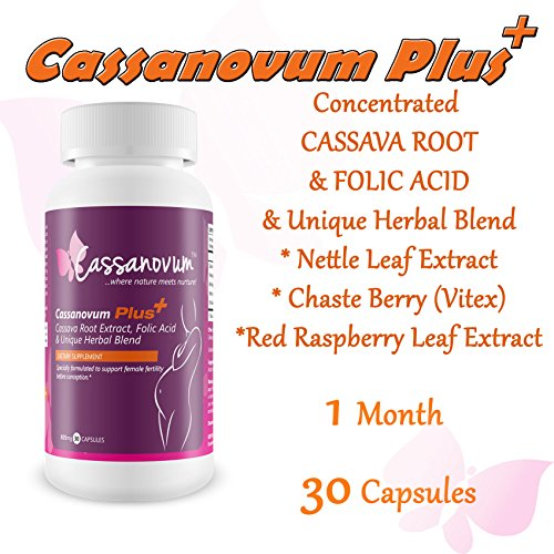 Cassava Supplement, Fertility Supplement for Twins and Healthy Pregnancy (Cassava Root, Folic Acid. Vitex Agnus Castus, Red Raspberry Leaf, Nettle Leaf)