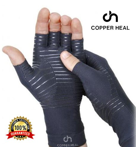 COPPER HEAL Arthritis COMPRESSION GLOVES - BEST Medical Copper Glove GUARANTEED to work for Rheumatoid Arthritis, Carpal Tunnel, RSI , Osteoarthritis & Tendonitis - Open in Fingers Fingerless Size L