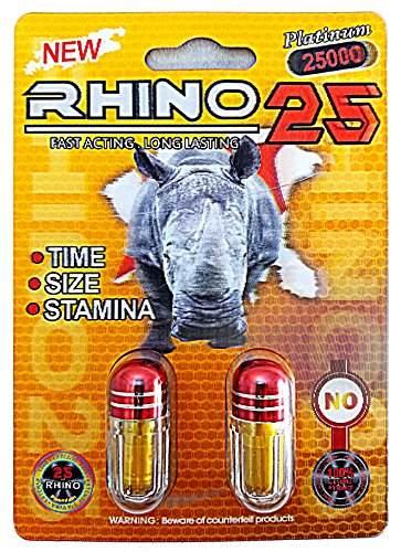 Rhino 25 Double Platinum 25000 - Male Sexual Enhancement Supplement - Time Size Stamina - 6 Pills