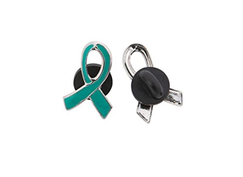 10 Teal Awareness Ribbon Pins Ovarian cancer, cervical cancer, uterine cancer, Anxiety disorders