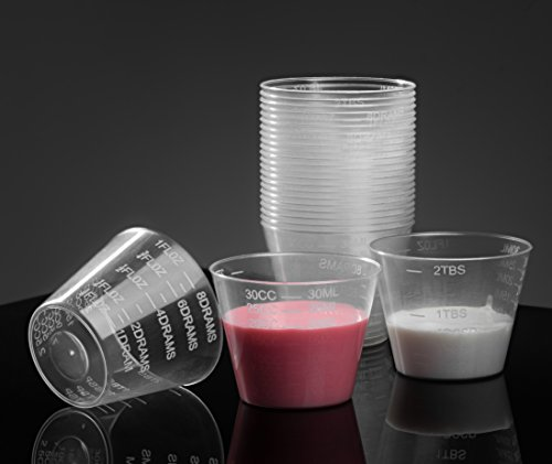 200 Graduated Medicine Cups – Plastic Disposable Measuring Cups - Non Sterile – 1oz, 8drams, 30ml, 30cc, 2tbsp – by HomEquip