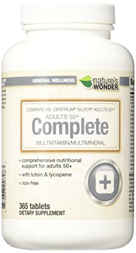 Nature's Wonder Adult 50+ Multivitamin, 365 Count, Compare vs. Centrum® Silver® Adults 50+