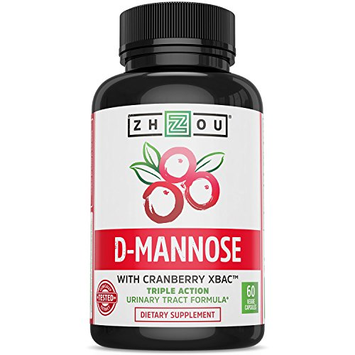 D Mannose with Cranberry Concentrate Urinary Tract Formula - Triple Action Complex with Clinically Tested Cranberry XBAC™ Powder for Bacterial Antiadherance & Flushing Impurities - 60 Veggie Capsules