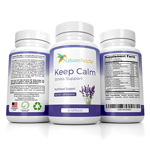 Keep Calm - Natural Stress Mood And Anxiety Relief Supplement - Capsules Help Fight Panic Attacks & Depression - Made of Magnesium, GABA, Vitamins + Melatonin - Anti Anxiety Pills - Happy Mood Support