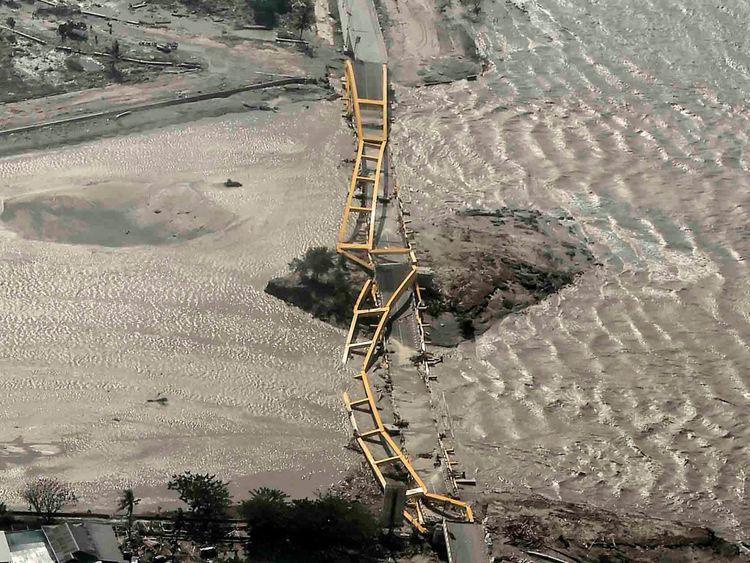 An aerial view shows bridge damaged by an earthquake and tsunami in Palu