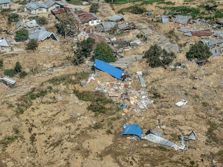 An aerial view of part of the city destroyed by an earthquake and tsunami in Palu