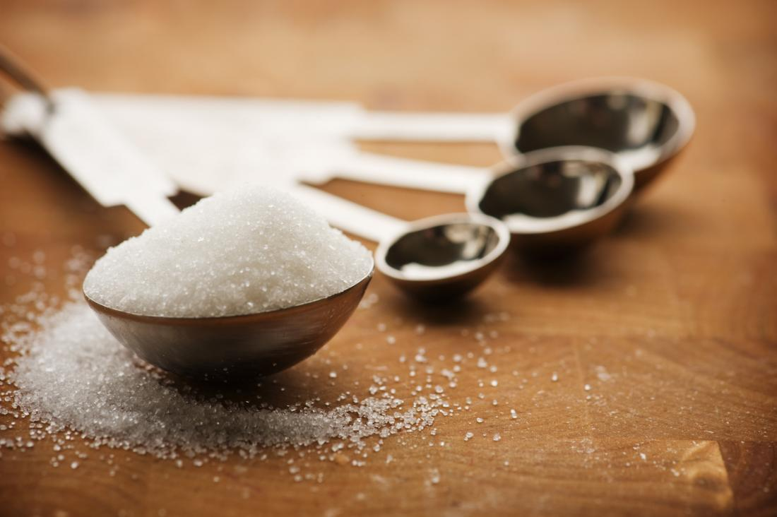 Spoon with sugar piled on.