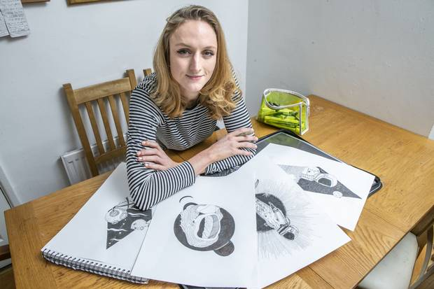 Orna Cunningham with some of her artwork