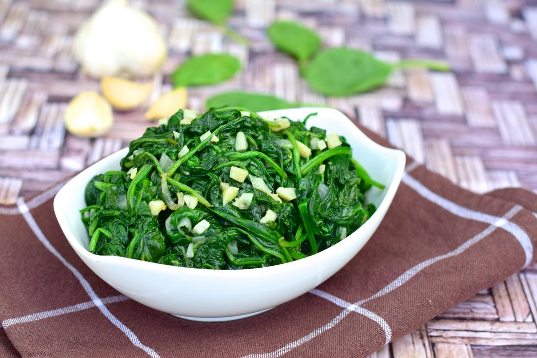 Bowl of cooked spinach with garlic