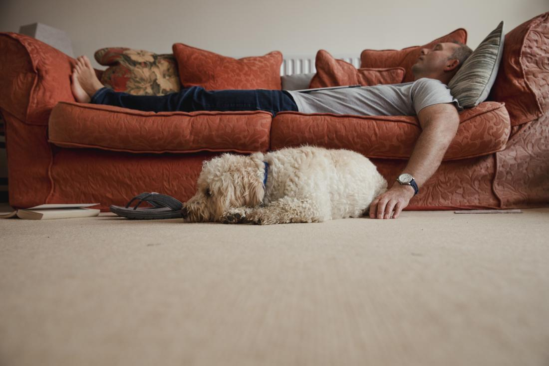 Man lazing on the sofa