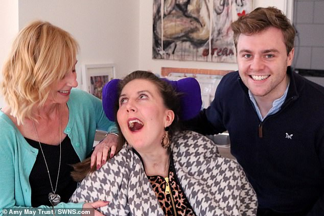 She is pictured with her aunt Julie Martin and cousin Tom Martin at the Marillac Care centre. The pair set up the Amy May Trust,which shares updates on her journey and campaigns for public awareness on the seriousness of nut allergies, including on airlines