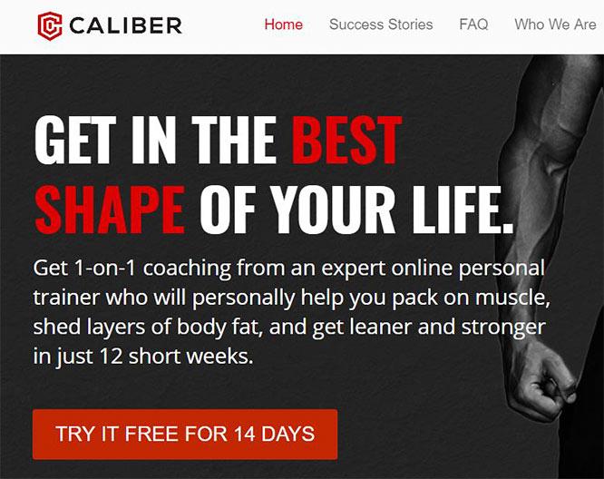 Caliber Fitness - website screenshot