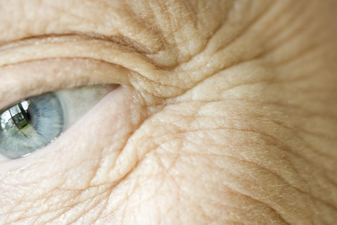 Close up of an older adult's eye