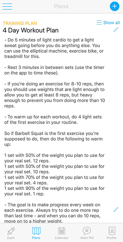 Example workout plan from Caliber Fitness