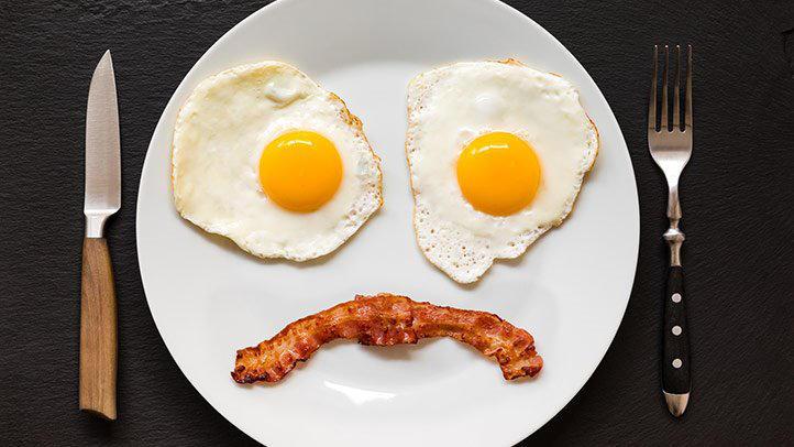 bacon & eggs making a sad face