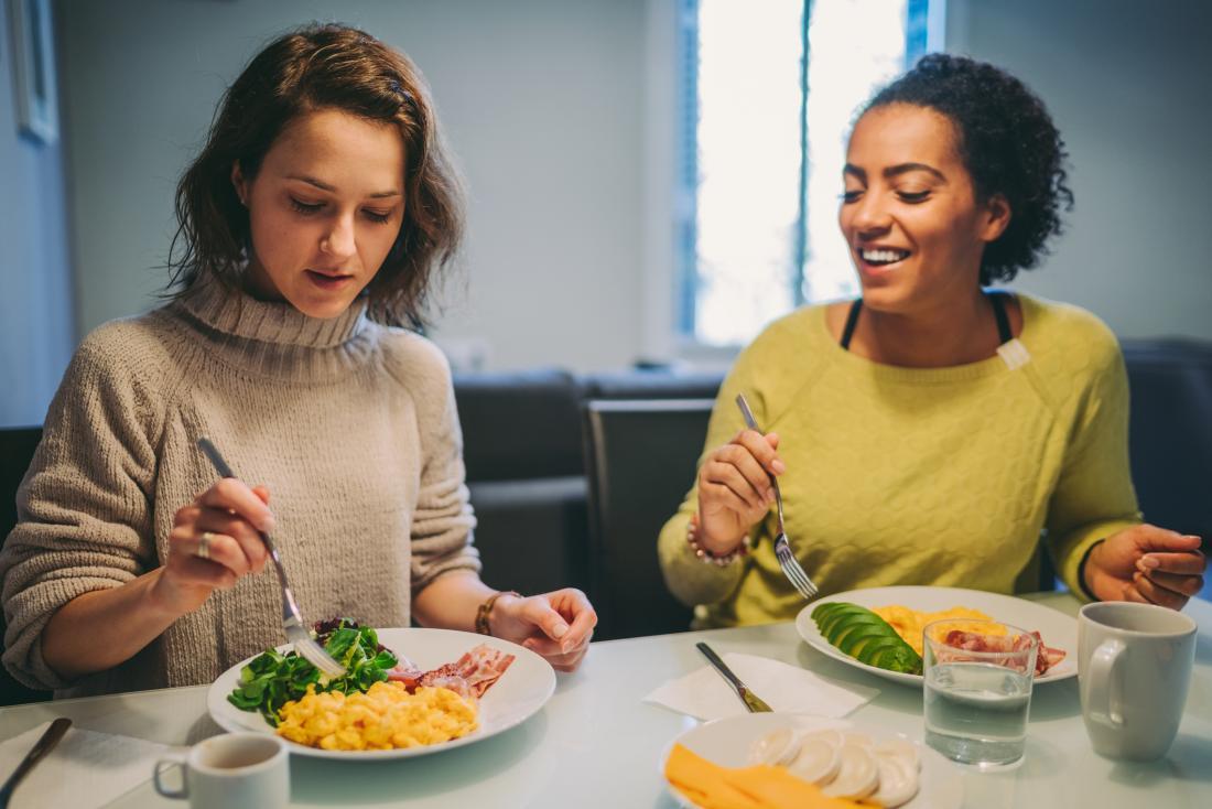 two women eating breakfast