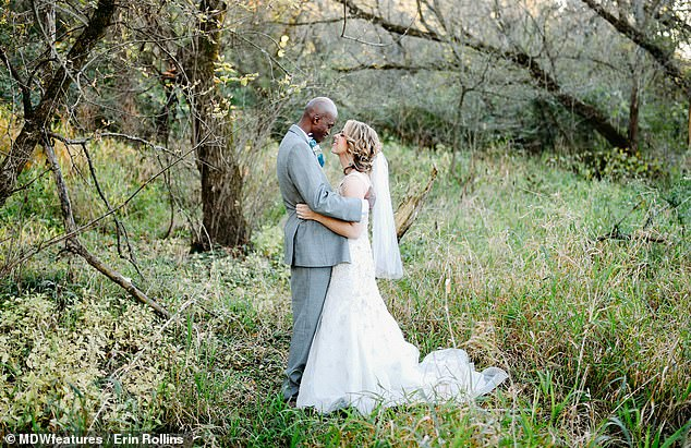 ErinRollins, 33, of Chicago, walked down the aisle to marry Dennis, 39, two years after she was left paralysed from the waist down after being hit by a drunk driver