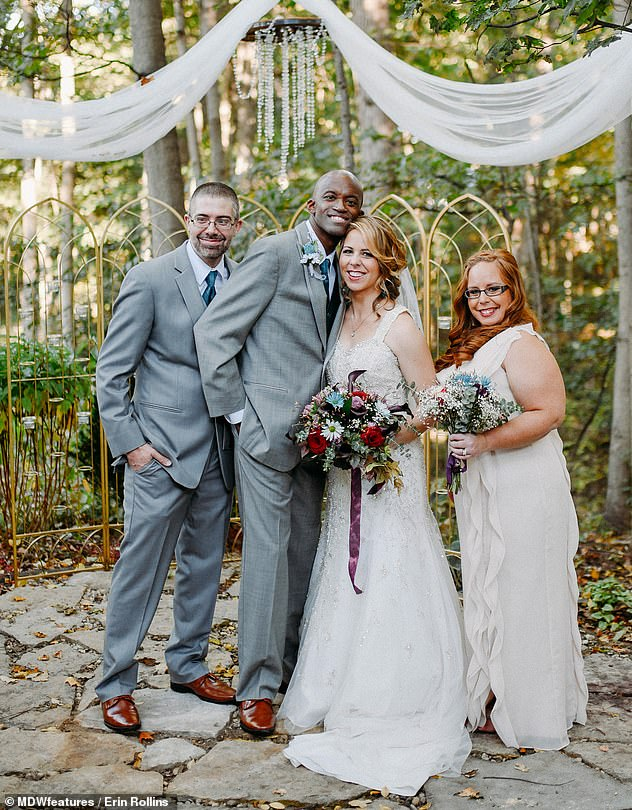 On the day of the drunk driver's sentencing, just weeks before Mr and Mrs Rollin's wedding in October 2016 (pictured), Mrs Rollins forgave the driver and even hugged her in the court