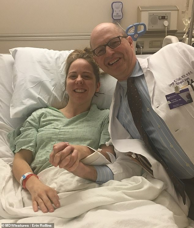 Pictured, following emergency surgery to repair her organs and internal bleeding after shards of bone caused holes in Erin's colon, small intestine and bowel