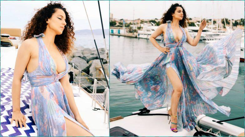 Cannes 2019: Kangana Ranaut's Maxi Dress With a Plunging Neckline and Thigh High Slit Is Soaring the Temperature