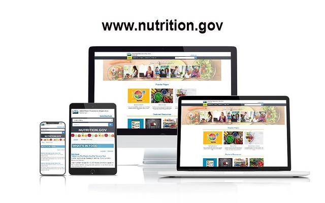 The Nutrition.gov website shown on multiple devices