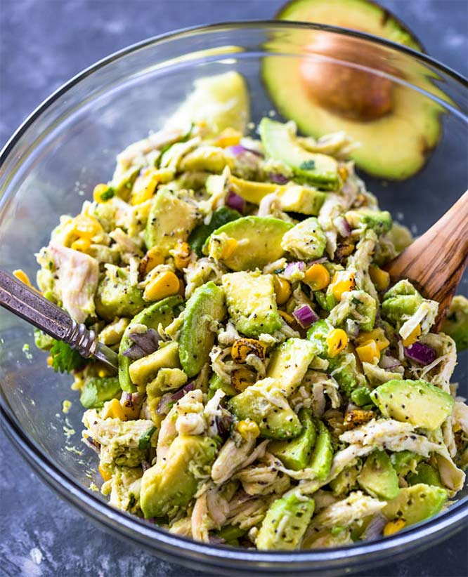 high protein low-carb avocado chicken salad