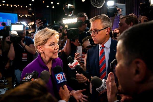 Senator Elizabeth Warren of Massachusetts spoke to reporters in the spin room after the debate on Wednesday night.