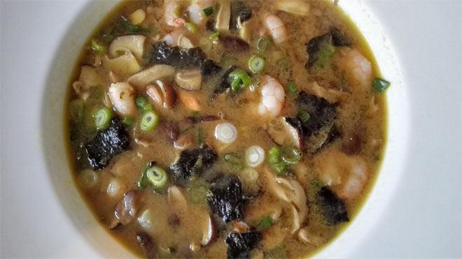 miso shiitake prawn soup