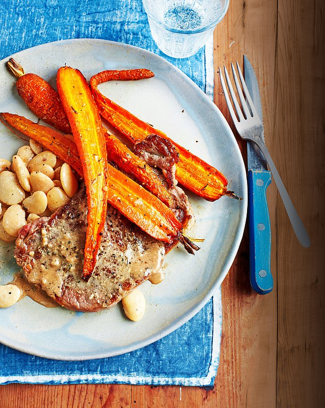 Dr Michael Mosley has developed a range of recipes - including this steak and carrot dish - which has less than 450 calories per serving and can aid weight loss