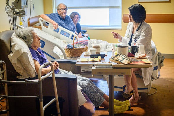 Dr. Hebert speaking to her patient Mona Guilliot, left, at Our Lady of Lourdes Regional Medical Center in Lafayette, La.