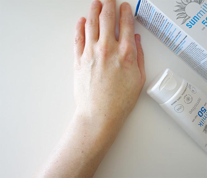 my hand after applying the Eco Cosmetics Sun Milk