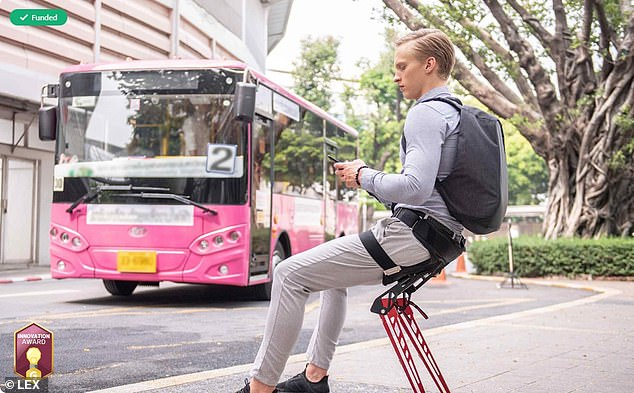 The device - a $ 250 pair of folding aluminium legs attached to a pad that clips around a wearer's backside - turns nearly any piece of solid ground into a chair using two collapsible legs that jut from its harness