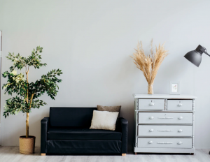 sofa and dresser