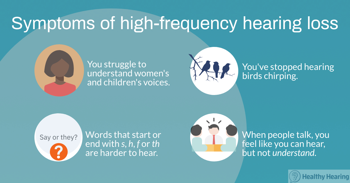 Illustration showing symptoms of high-frequency hearing loss