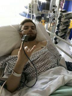 Harry Mockett in the hospital. (SWNS)