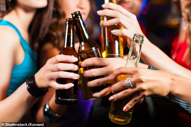 People in the US drink exactly the average amount of alcohol, but those in the UK consume 800ml more each year, according to the research (stock image)