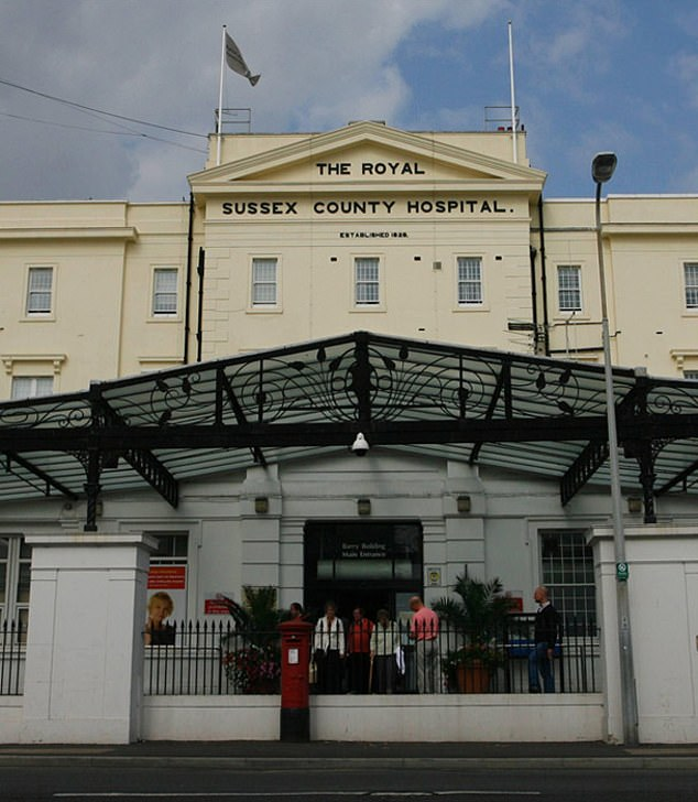 It is thought the third coronavirus patient was diagnosed at the Royal Sussex in Brighton (pictured) after flying in from outside China