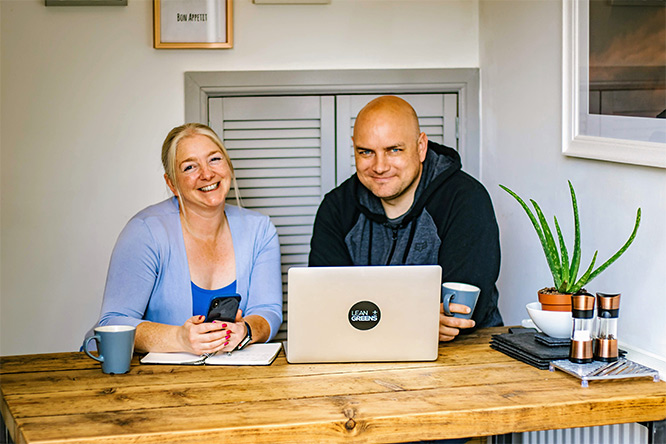 Tim from Lean Greens with his wife who is his business partner