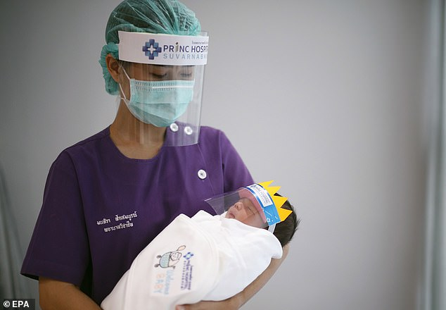 Babies may be at risk of catching the coronavirus from their mother during pregnancy, scientists in China have warned. Pictured, a Thai nurse caring for a newborn wearing a protective face shield to prevent the spread of the coronavirus