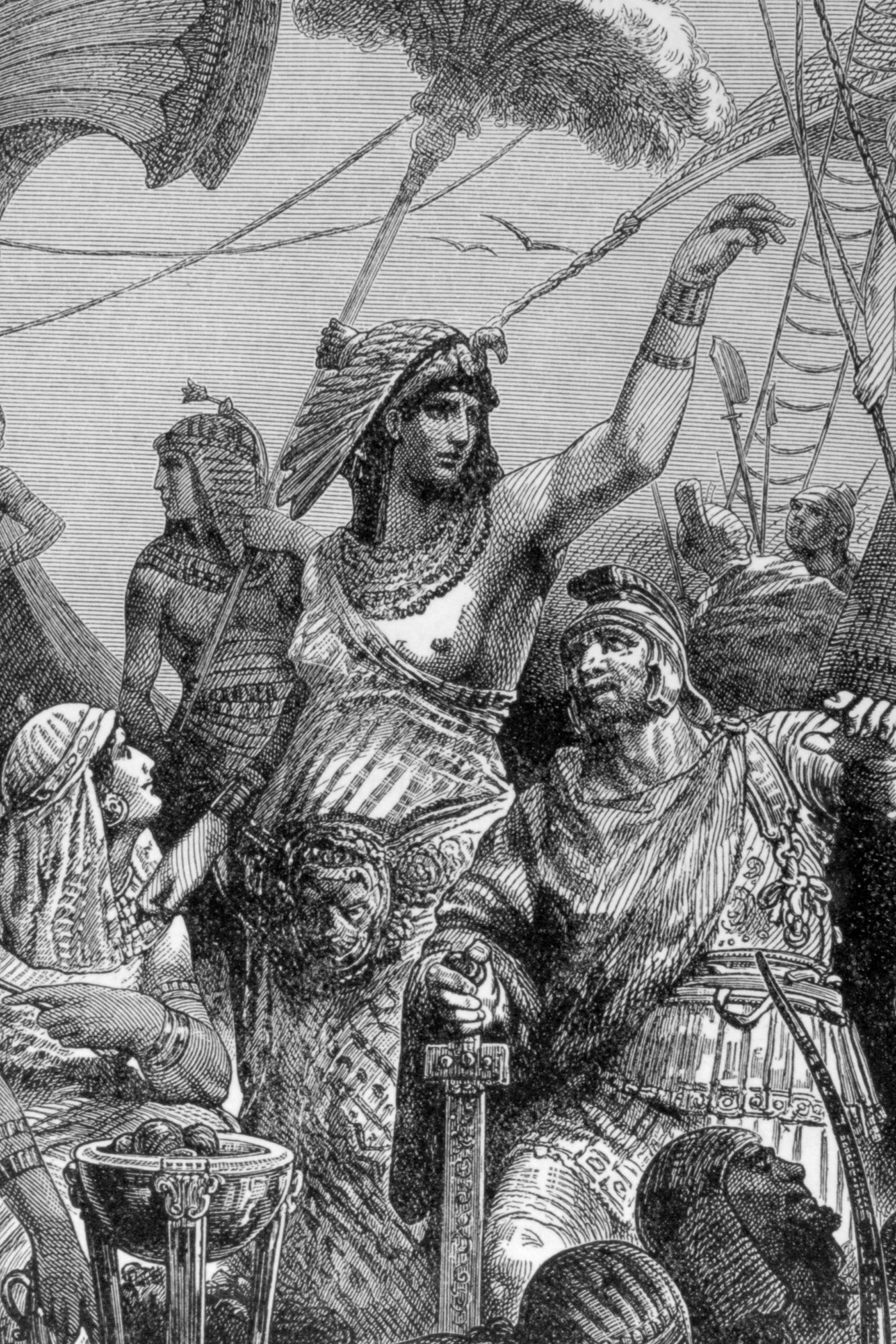 Ancient History Illustration. pic: 31 BC. Roman Civil War. This illustration is entitled Cleopatra, During The Battle Of Actium. The battle was fought between naval fleets of Marc Antony (supported by Cleopatra) and Octavian. The battle proved indecisive